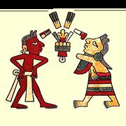 «Муж (красный) поправляет набедренную повязку маштлатль, а его жена скрестила руки на груди в знак почтения» — стикер для Viber и Telegram из набора «Кодекс Лауда»