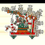 «Бог дождя, грома и сельского хозяйства Тлалок восседает на троне под грозовыми тучами» — стикер для Viber и Telegram из набора «Кодекс Лауда»