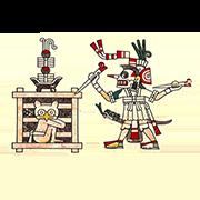 """«Владыка загробного мира Миктлантекутли требует обряда """"самопожертвования"""", в результате которого злой дух должен быть заключен в клетку» — стикер для Viber и Telegram из набора «Кодекс Лауда»"""