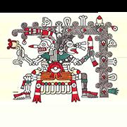 «Бог смерти в образе полускелета-полуобезьяны восседает на троне из костей и ребер под покровом ночи» — стикер для Viber и Telegram из набора «Кодекс Лауда»