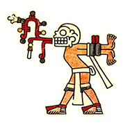 «Жрец с закрытыми глазами — умерший или находящийся в состоянии транса — несет веревку в знак покаяния» — стикер для Viber и Telegram из набора «Кодекс Лауда»