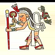 «Посланник с кетцалем и веером с ручкой в виде змеи, которая символизирует опасности» — стикер для Viber и Telegram из набора «Кодекс Лауда»