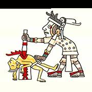 «Жрец с белым лицом приносит в жертву человека» — стикер для Viber и Telegram из набора «Кодекс Лауда»