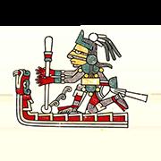 «Бог-творец Тескатлипока, дающий власть мирским правителям и жрецам, с богом огня Шиутекутли в образе змея» — стикер для Viber и Telegram из набора «Кодекс Лауда»