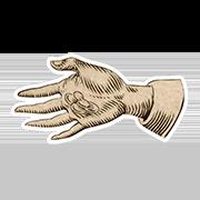 «Одаряю» — стикер для Viber и Telegram из набора «Руки Булвера»