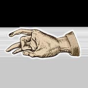 «Демонстрирую иронию» — стикер для Viber и Telegram из набора «Руки Булвера»