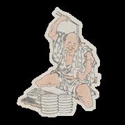"""«Обжора ест одну миску лапши за другой» — стикер для Viber и Telegram из набора «""""Манга"""" Хокусая»"""