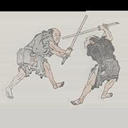 """«Бой на боккэнах» — стикер для Viber и Telegram из набора «""""Манга"""" Хокусая»"""